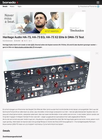 Bonedo.de Heritage Audio HA-73, HA-73 EQ, HA-73 X2 Elite & DMA-73