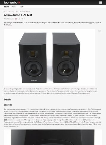 Bonedo.de Adam Audio T5V