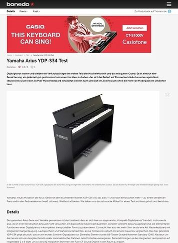 Bonedo.de Yamaha Arius YDP-S34
