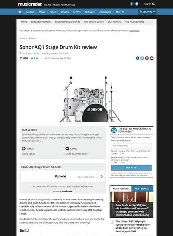 MusicRadar.com Sonor AQ1 Stage Drum Kit