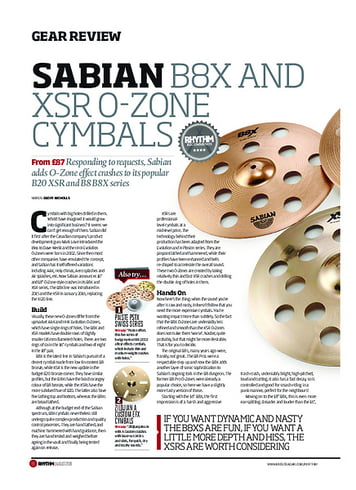 Rhythm Sabian B8X and XSR O-Zone Cymbals
