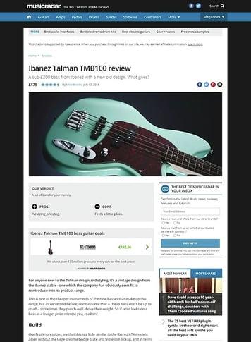 MusicRadar.com Ibanez Talman TMB100