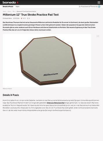 """Bonedo.de Millenium 12"""" True Stroke Practice Pad"""