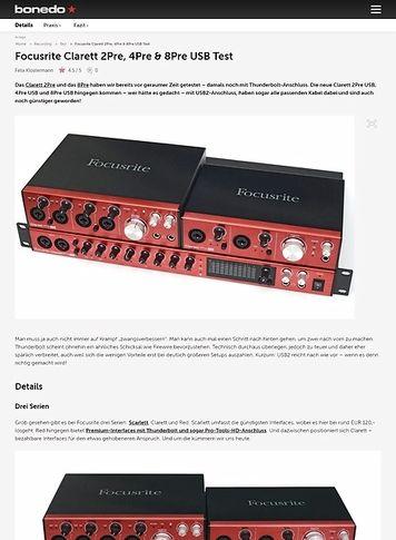 Bonedo.de Focusrite Clarett 2Pre, 4Pre & 8Pre USB