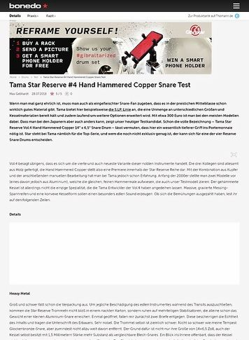 Bonedo.de Tama Star Reserve Vol.4 Hand Hammered Copper Snare