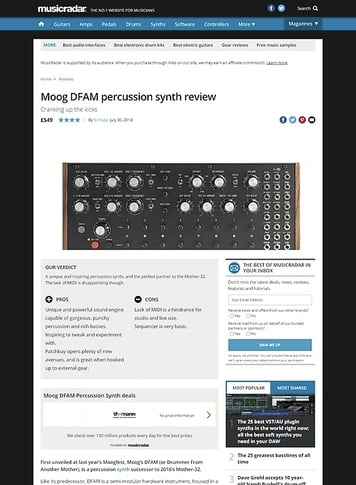 MusicRadar.com Moog DFAM percussion synth