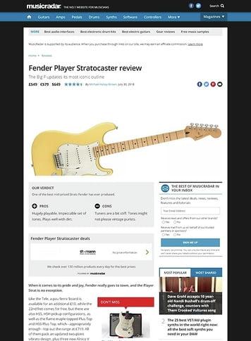 MusicRadar.com Fender Player Stratocaster