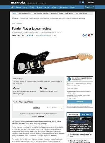 MusicRadar.com Fender Player Jaguar