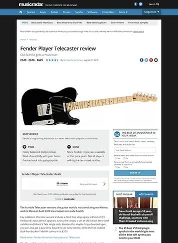 MusicRadar.com Fender Player Telecaster
