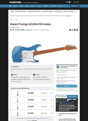 MusicRadar.com Ibanez Prestige AZ2204-ICM