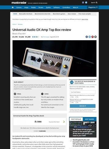 MusicRadar.com Universal Audio OX Amp Top Box