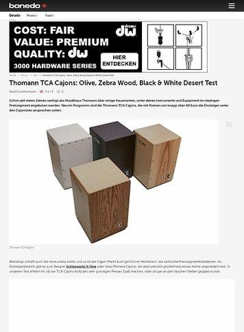 Bonedo.de Thomann TCA Cajons: Olive, Zebra Wood, Black & White Desert
