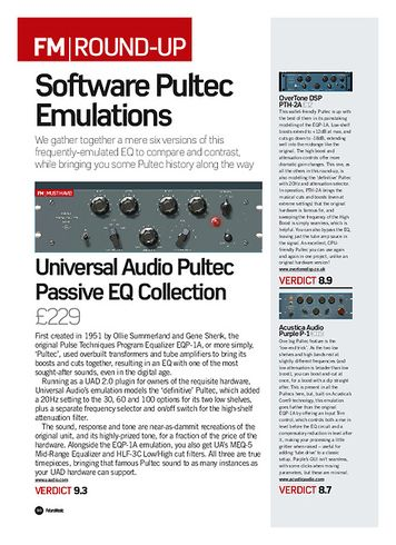 Future Music Universal Audio Pultec Passive EQ Collection