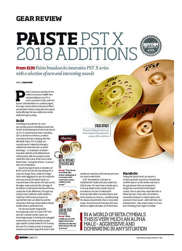 Rhythm Paiste PST X 2018 Additions