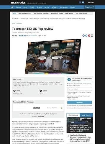 MusicRadar.com Toontrack EZX UK Pop