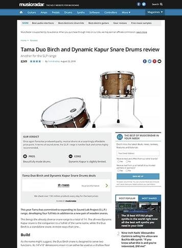MusicRadar.com Tama Duo Birch and Dynamic Kapur Snare Drums