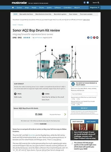 MusicRadar.com Sonor AQ2 Bop Drum Kit