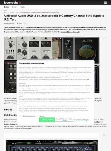 Bonedo.de Universal Audio UAD-2 bx_masterdesk & Century Channel Strip (Update 9.6)
