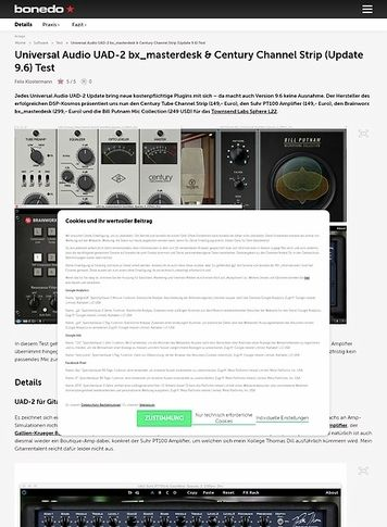 Bonedo.de Universal Audio UAD-2 bx_masterdesk & Century Channel Strip (Update 9.6)