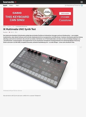 Bonedo.de IK Multimedia UNO Synth