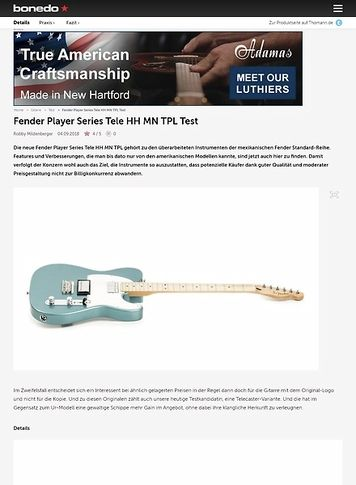 Bonedo.de Fender Player Series Tele HH MN TPL