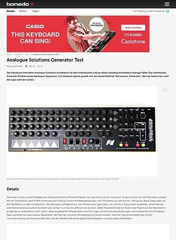 Bonedo.de Analogue Solutions Generator