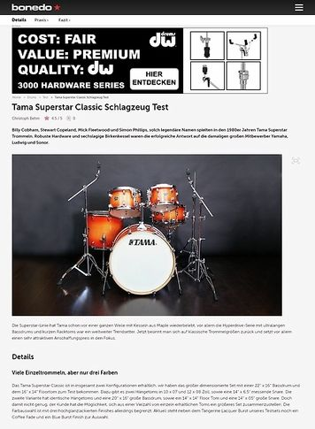 Bonedo.de Tama Superstar Classic Schlagzeug