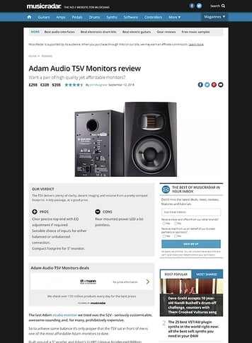 MusicRadar.com Adam Audio T5V Monitors