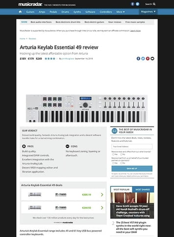 MusicRadar.com Arturia Keylab Essential 49
