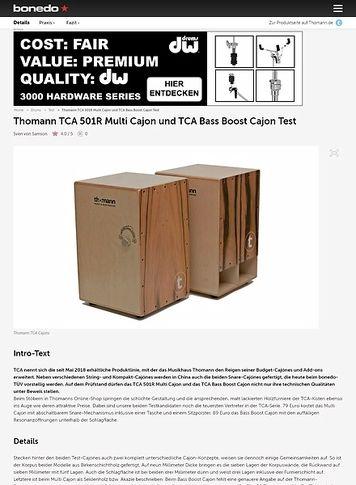 Bonedo.de Thomann TCA 501R Multi Cajon und TCA Bass Boost Cajon