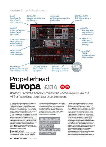 Computer Music Propellerhead Europa