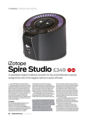 Computer Music iZotope Spire Studio