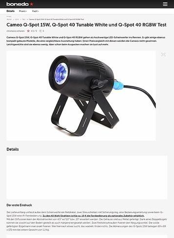 Bonedo.de Cameo Q-Spot 15W, Q-Spot 40 Tunable White und Q-Spot 40 RGBW