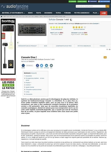 Audiofanzine.com Softube Console 1 mkII