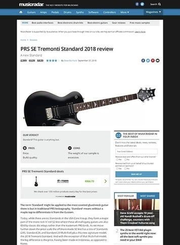 MusicRadar.com PRS SE Tremonti Standard 2018