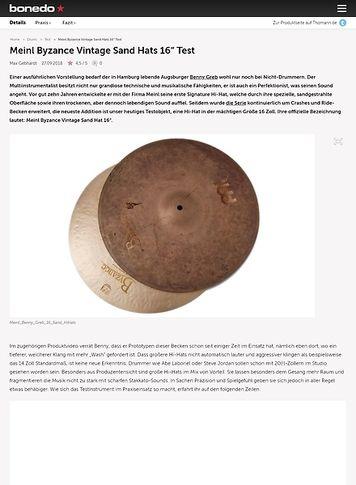 """Bonedo.de Meinl Byzance Vintage Sand Hats 16"""""""