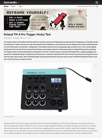 Bonedo.de Roland TM-6 Pro Trigger-Modul