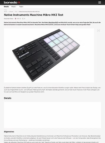 Bonedo.de Native Instruments Maschine Mikro MK3