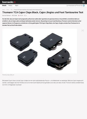 Bonedo.de Thomann TCA Cajon Claps Black, Cajon Jingles und Foot Tambourine