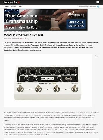 Bonedo.de Mooer Micro Preamp Live