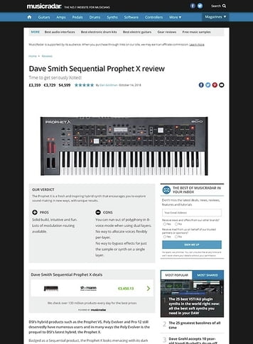 MusicRadar.com Dave Smith Sequential Prophet X