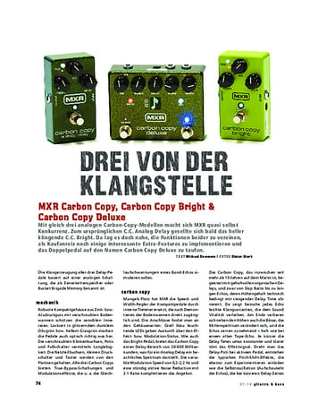 Gitarre & Bass MXR Carbon Copy, Carbon Copy Bright & Carbon Copy Deluxe