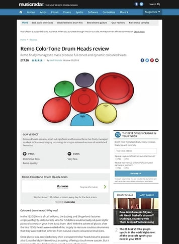 MusicRadar.com Remo ColorTone Drum Heads