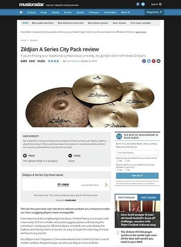 MusicRadar.com Zildjian A Series City Pack
