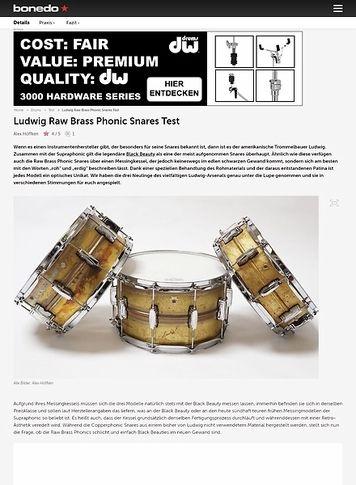 Bonedo.de Ludwig Raw Brass Phonic Snares
