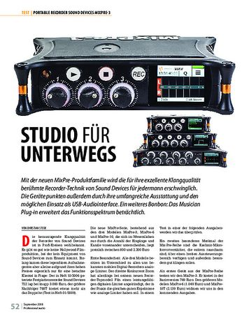 Professional Audio Sound Devices MixPre-3