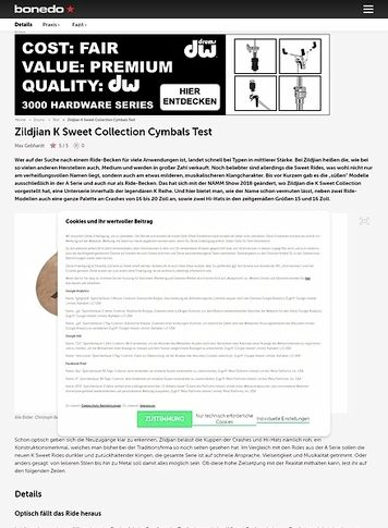 Bonedo.de Zildjian K Sweet Collection Cymbals