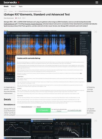 Bonedo.de iZotope RX7 Elements, Standard und Advanced