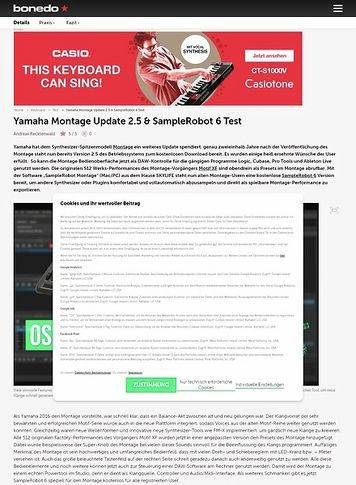 Bonedo.de Yamaha Montage Update 2.5 & SampleRobot 6