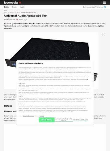 Bonedo.de Universal Audio Apollo x16